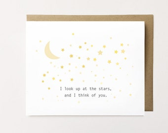 Long distance card, Long distance relationship card, Long distance anniversary card, Thinking of you card, Moon and Stars Card, Love card