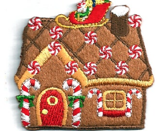 Gingerbread House - Santa's Sleigh - Christmas - Winter - Embroidered Iron On Applique Patch