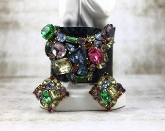 Vintage Jeweled Leather Cuff with Matching Earrings, Royal Blue Leather Jeweled Cuff and Matching Earrings, Leather Cuff and Earrings