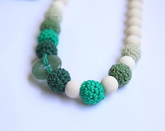 Green crochet necklace with natural stone. Wrap Baby Carrier Sling Accessory, nursing necklace.