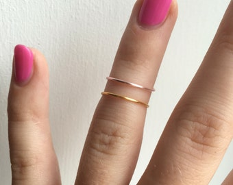 2x Midi Rings: Gold & Rose Gold • Ring Set • Stackable Rings • Knuckle Rings • Midi rings • Gold • Rose Gold