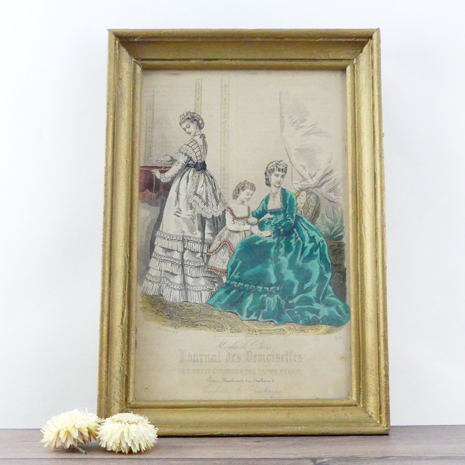 Old gilded frame paris fashion 19th century old drawing zoom jeuxipadfo Gallery
