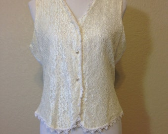 Ladies Ivory Lace Front Lined Vest with Back Tie and Faux Pearl Buttons by Jordan, Size 14, Previously 20 Dollars ON SALE