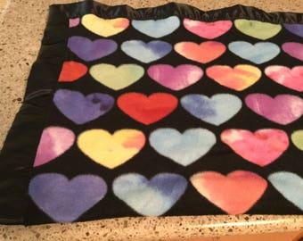 Handmade fleece pet blanket, hearts!