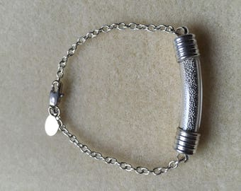 Blown glass tube bracelet, micro silver beads and silver chain.