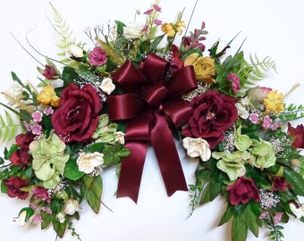 Silk Flower Floral Arch Swag-Wall Décor Swag-Burgundy Rose and Green Hydrangeas Floral Swag-Wall-Home Decoration-by Floramiagarden