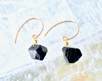 Raw Black Tourmaline Earrings, Healing Gemstones, Black Stone Protection Amulet with Gold