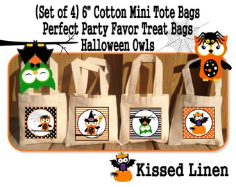 Spooky Halloween OwlsTreat Favor Gift Goody Candy Party Bags Mini Cotton Totes Children Kids Boys Girls Halloween Set of 4