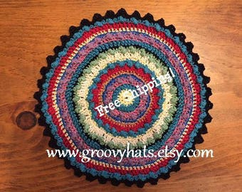 Mandala Hot Pad Kitchen Mat - Turquoise Fiesta Colors - 100% Cotton - Free Shipping!