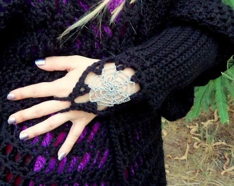 Spider Web Gauntlet Hand Warmer Fingerless gloves Crochet PATTERN