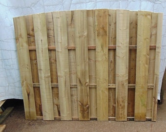 Wooden Garden Hit and Miss Wind Proof Fencing - Arch Top Fence Panel