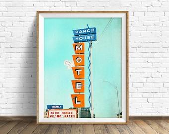 "neon sign, retro, wall art, large art, large wall art, instant download art, instant download, printable art, print - ""Ranch House Motel"""