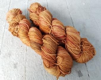 "Hand Dyed Sock Yarn, Superwash Wool - Merino - BFL - Nylon - Sparkle - Stellina, ""Spiced"""