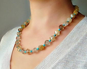 Golden Rutilated Quartz Necklace. Golden Rutilated Quartz and Turquoise Necklace. Golden Rutilated Quartz jewelry.Natural Venus hair Quartz.