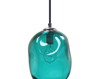 Teal  River Rock Hand Blown Glass Pendant Light Lighting Glass Pendants and Chandeliers