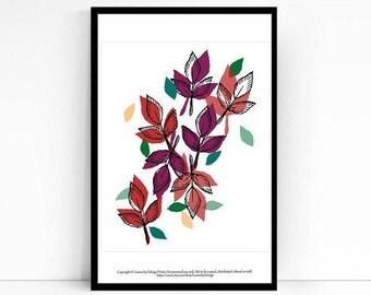 Solar Ivy leaf print - 8x10 inch artwork - spring peach decor - maroon wall art - rosy nursery room - home warming gift - falling leaves