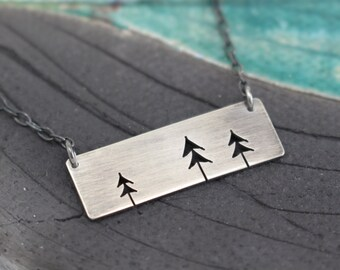 Three Open Pine Trees rectangle bar sterling silver tree art pendant