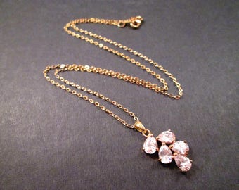 Cubic Zirconia Necklace, Leaf Vine Pendant Necklace, Gold Chain Necklace, FREE Shipping U.S.