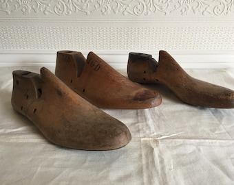 Vintage Wood Shoe Forms, Industrial Cobbler Shoe Molds