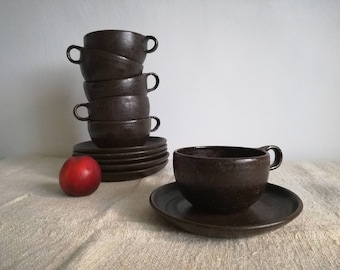 Soup mugs with plate, wabi-sabi style