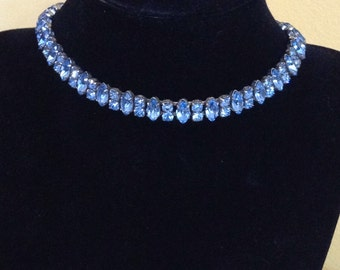 Light blue rhinestone choker