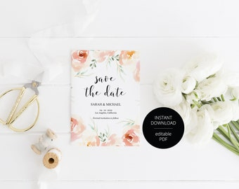 Printable Save the Date Card, Wedding Announcement, Floral Watercolor,Engagement,Save the Dates,Template,Instant Download  - Sarah