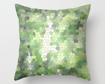 Green Mosaic, Pillow Cover, 16x16, 18x18, 20x20, home decoration, interior design, shades of green,grey,Country Living, Seasons,Modern Decor