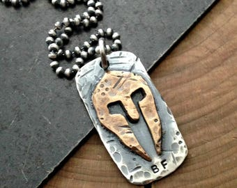 Spartan Necklace, Personalized Men's Dog Tag Necklace, Rustic Men's, Silver Bronze Necklace, Hand Stamped Men's Gift - Spartan Necklace