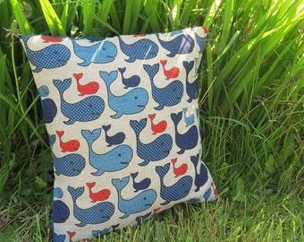 A nautical cushion.  Nautical pillow.  Complete with feather pad.