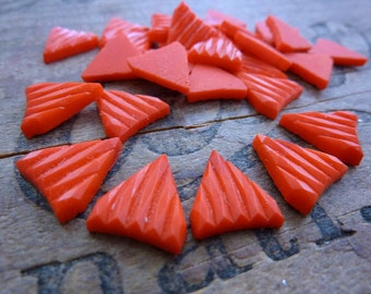 Rhinestone Glass 14x11mm Red Coral Art Deco Rhinestones (4)