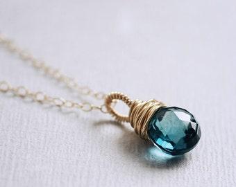 London BLUE TOPAZ heart briolette 14K goldfilled necklace - Wrapture