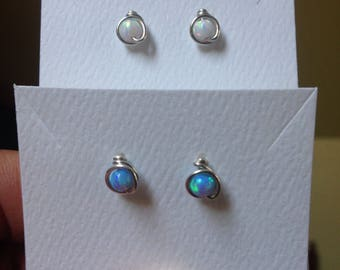 Blue Opal and White Opal Stud Earrings (4mm), 2 Pairs, Argentium Sterling Silver Wire posts with hypoallergenic rubber backs