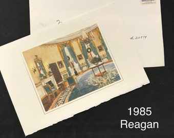 Ronald Reagan and Nancy Reagan 1985 Christmas Card as President from The White House (Some expected damage to envelope)