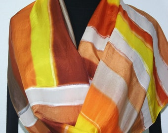 Silk Scarf Handpainted Brown Orange Beige Handmade Shawl AUTUMN FOREST, by Silk Scarves Colorado. Select Your SIZE! Birthday, Christmas Gift