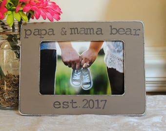 Mama papa bear picture frame Mothers day Fathers day gift Dad Mom to be gift daddy Pregnancy Expecting dad mom gift Personalized photo frame