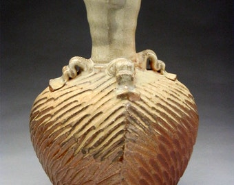 Woodfired Square Vase  - Carved Texture