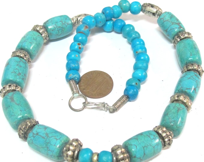 1  mix beads strand - Tibetan Mix strand of turquoise beads , spacer beads and blue color bone beads-supplies  - MG021CP