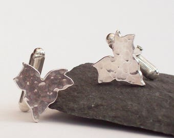Silver Cufflinks , Hammered Ivy Leaf Cufflinks , Silver Leaf Cuff links , Suit Accessories , Handmade , UK , Sterling Silver 925
