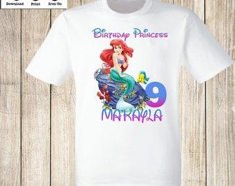 Disney Little Mermaid Birthday iron on transfers Disney Princess Little Mermaid Personalized Birthday T-Shirt Little Mermaid iron on shirt.