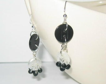 Black and White Beaded Buttons Dangle