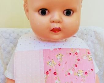 Quilted Baby bib - pink - Deer Delight