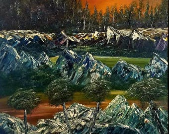 Sunset of Sierra's by Darrell Nickel of DNART CREATIONS in Oil