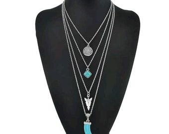 Multi Strand Necklace / Boho / Necklace / Layered / Charm / Pendant / Silver / Turquoise