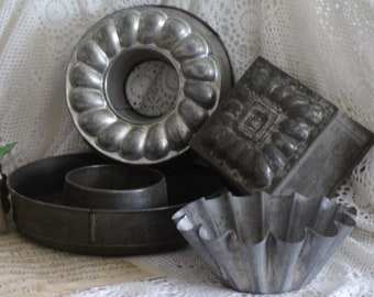 Lot of 4 Vintage French Metal Moulds - Tin Moulds - Baking Moulds - Shabby Chic - Kitchen Decor