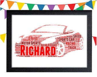 Personalized Gift Sports Car Gift Track Racing Gift For Him Wall Art Wall Prints Wall Art Wall Decor Personalised Gift Wall Art Prints