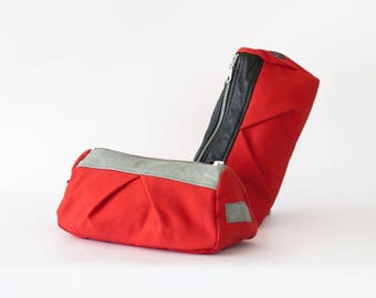 Red makeup bag, cosmetic case toiletry case pencil case vanity storage utility case zipper pouch - Estia Bag