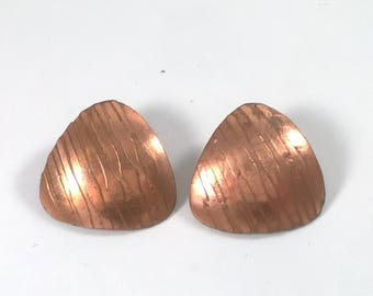 Vintage Copper Earrings - Triangle Rose Gold Clip on Jewelry - 1960s