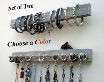 Jewelry Organizer Wall Mount Jewelry Holders. Necklace Holder, Earring Holder, Ring Organizer, Bracelet Holder. Save 15% on this Set of 2.