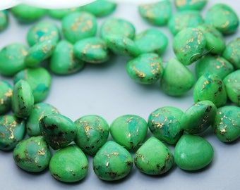 3 Matched Pair,Green COPPER Turquoise Faceted Heart Shape Briolettes,14mm size.