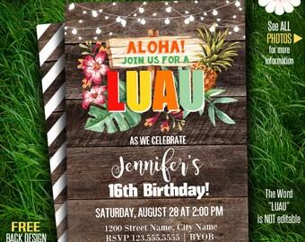 Luau invitation, Printable luau party template, Birthday invitation, Instant download Self Editable PDF File A288